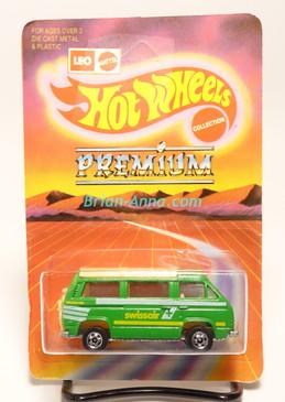 Hot Wheels Leo Mattel India, VW Sunagon, bright green, SwissAir, unpunched blister