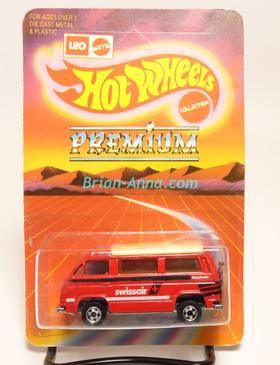 Hot Wheels Leo Mattel India, VW Sunagon, bright red, SwissAir, unpunched blister