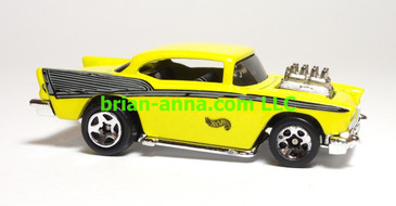 Hot Wheels '57 Chevy with Exposed Engine, Metalflake Yellow, Sp5 wheel, China base, loose