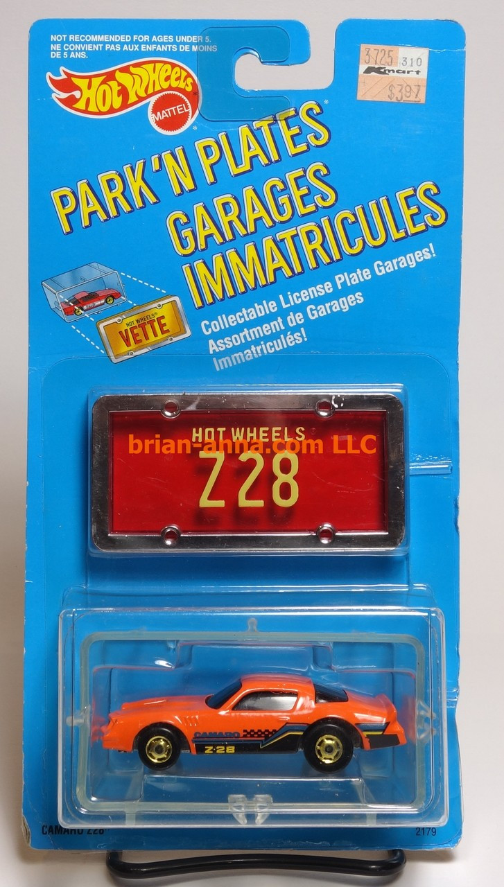 Hot Wheels Canadian Park n Plates, Camaro Z28 Orange, hogd wheels,  color variation