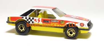 Hot Wheels Turbo Mustang, White with rare Yellow interior, hogd wheels, Hong Kong base, loose