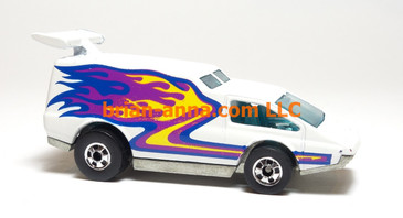 Hot Wheels Spoiler Sport in White, blackwall wheels, Hong Kong base, loose