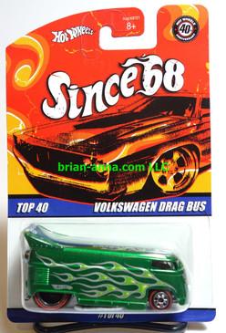 Hot Wheels Since 68 Top 40, Volkswagen Drag Bus in Green