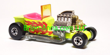 Hot Wheels T-Bucket in Lime Yellow, Pink interior, BW wheels, loose