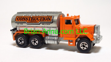 Hot Wheels Peterbilt Tank Truck, Orange cab, BW wheels, loose