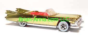 Hot Wheels '59 Caddy Convertible, Gold Chrome, Red interior, Limited Edition, loose