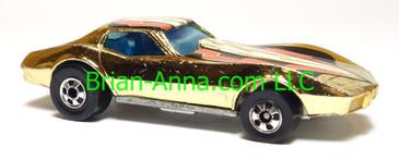 Hot Wheels Corvette Stingray, Gold Chrome, Blackwall wheels, Hong Kong base, loose