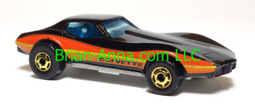 Hot Wheels Corvette Stingray, Black with R/O/Y stripes, hogd wheels, Hong Kong base, loose