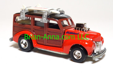 Hot Wheels 40's Woodie, JC Whitney Promo, Red with Real Rider, loose, Malaysia base