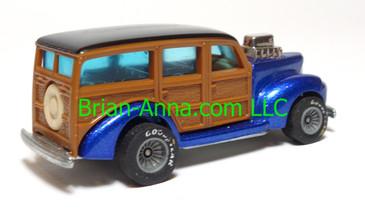 Hot Wheels 40's Woodie Hi-Raker, Metalflake Blue, Gray Hub Real Riders, Dark panels, loose, Hong Kong base