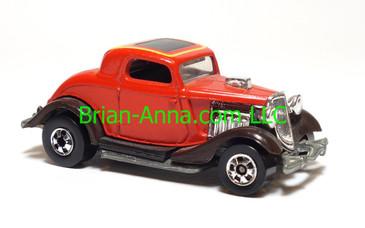 Hot Wheels 3-Window '34 Hot Rod Coupe, Red, BW wheels, HK base,loose