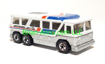 Hot Wheels Greyhound Bus MC-8, BW wheels, HK base, loose