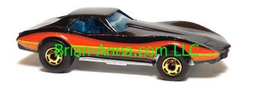 Hot Wheels Corvette Stingray, Black, hogd wheels, from Hot Ones 1982 3-pak, Hong Kong base, loose