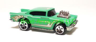 Hot Wheels '57 Chevy Aqua, ho5 wheels, metal base, Malaysia base, loose