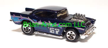 Hot Wheels Steel Stamp '57 Chevy w/Black interior, Sp5 wheels, Malaysia base, loose