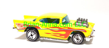 Hot Wheels '57 Chevy, Yellow w/flames, UH wheels, Malaysia base, loose