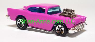 Hot Wheels '57 Chevy, Black w/yellow tampo, BW wheels,  Hong Kong base, loose