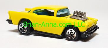 Hot Wheels '57 Chevy, Yellow, Sp5 wheels, China base, loose