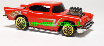 Hot Wheels '57 Chevy, Red, Gold/White tampo, lwgd wheels,  Malaysia base, loose