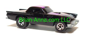 Hot Wheels '57 T-Bird, Black, red/magenta/blue tampo, Blackwall wheels, loose