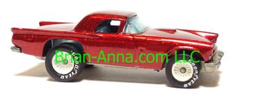 Hot Wheels '57 T-Bird, Metalflake Red, White hub Real Riders, HK base, loose