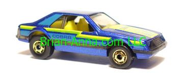 Hot Wheels Turbo Mustang Metalflake Blue, Yellow interior, hogd wheels, Hong Kong base, loose