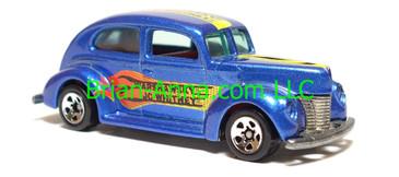 Hot Wheels Fat Fendered 40, JC Whitney Promo, Metalflake Blue, sp5 wheels, Malaysia base, loose