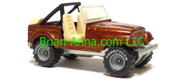 Hot Wheels Jeep CJ-7, Metalflake Red/Brown, Gray hub Real Riders, Malaysia base, loose