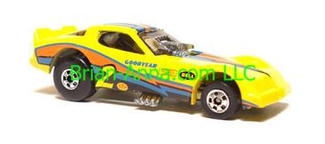 Hot Wheels Firebird Funny Car, Yellow, Black/Blue/Orange tampo, Blackwall wheels, Malaysia base, loose