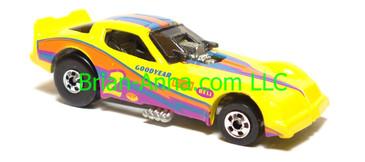 Hot Wheels Firebird Funny Car, Yellow, Magenta/Blue/Orange tampo, Blackwall wheels, Malaysia base, loose
