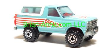 Hot Wheels Bronco 4-wheeler, Turquoise, CT wheels, Malaysia base, loose