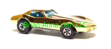 Hot Wheels Corvette Stingray in Gold Chrome, Hong Kong base, Blackwall wheels, loose