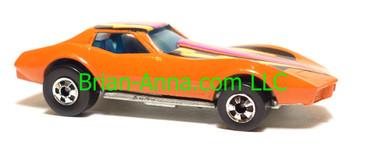 Hot Wheels Corvette Stingray in Orange, Hong Kong base, Blackwall wheels, loose
