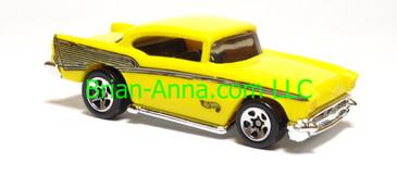 Hot Wheels '57 Chevy, Yellow, plastic body, Sp5 wheels, Malaysia base, loose