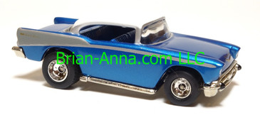 Hot Wheels '57 Chevy, Metalflake Blue, Real Riders, China base, loose