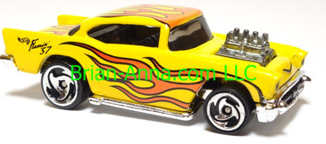 Hot Wheels '57 Chevy (exposed engine) Yellow w/flames, dw3 wheels, Malaysia base, loose