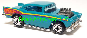Hot Wheels '57 Chevy (exposed engine) Aqua, UH wheels, Malaysia base, loose