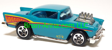 Hot Wheels '57 Chevy (exposed engine) Aqua, sp5 wheels, Malaysia base, loose