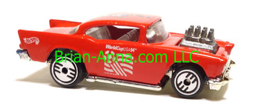 Hot Wheels '57 Chevy (exposed engine) Red, World Cup Exclusive, UH wheels, Malaysia base, loose