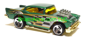 Hot Wheels '57 Chevy (exposed engine) Green with gold chrome base, sp3 wheels, Thailand base, loose