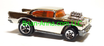 Hot Wheels '57 Chevy (exposed engine) Chrome body, sp5 wheels, Malaysia base, loose