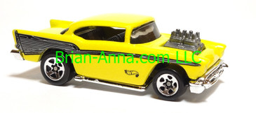 Hot Wheels '57 Chevy (exposed engine) Metalflake Yellow, sp5 wheels, Malaysia base, loose