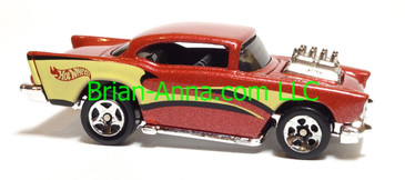 Hot Wheels '57 Chevy (exposed engine) Reddish Brown, sp5 wheels, China base, loose