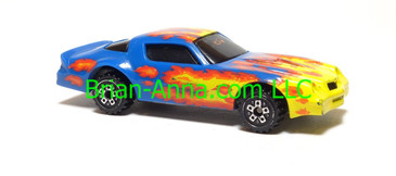 Hot Wheels Camaro Z28, Blue with flames, scw wheels, Malaysia base, loose