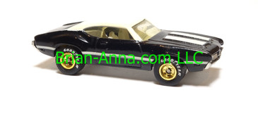 Hot Wheels Oldsmobile 442 W-30, Black, gold hubs, real riders, Malaysia base, loose