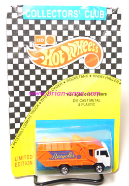 Hot Wheels Leo India Mattel Recycling Truck, White Cab, blisterpack