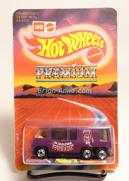 Hot Wheels Leo India Mattel Purple GMC Motor Home, Spider-Man tampo artwork, blisterpack