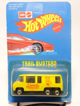 Hot Wheels Leo India Mattel Yellow GMC Motor Home, Spider-Man tampo artwork, blisterpack