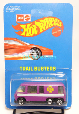 Hot Wheels Leo India Mattel Light Purple GMC Motor Home, Yellow Cross tampo artwork, blisterpack