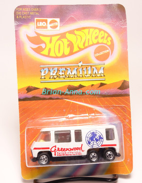 Hot Wheels Leo India Mattel White GMC Motor Home, Greenwood tampo artwork, blisterpack